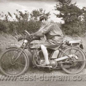 Lottie Stonehouse on her boyfriend Tom's motorcycle in the early 1920s