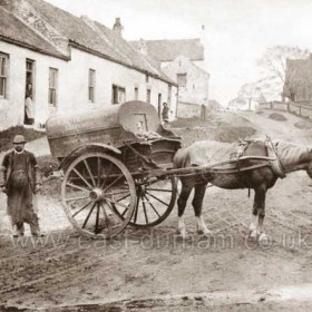 Butcher's cart in Hawthorn, J S Hutchinson of White House Shotton. Looking back towards the church in the opposite direction to HAW 001.