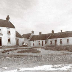 Stapylton Arms and farm cottages c 1900. The maiden name of the wife of Richard Lawrence Pemberton was Stapylton.