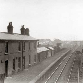 Hetton Station in the 1950s. This is looking roughly eastwards from the bridge where the Easington to Wardley road (later A182), crossed the old Durham & Sunderland Railway, in the direction of Murton Junction.  I think the bridge in the distance carried the Lambton, Hetton & Joicey Railway to Hetton and Elemore Collieries.   Caption by Sheldon Clark