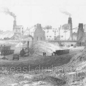 Hetton Colliery in 1844 by T Hair. This print (from a lithograph) shows at least one early steam locomotive and numerous chaldron wagons, some of which are being hauled by a horse, on what had started as the Hetton Colliery Railway and later became a major part of the Lambton, Hetton & Joicey Railway.  The original railway was engineered by George Stephenson and is probably unique in that, from the start, it utiised no fewer than four methods of haulage: horses and locomotives on the level sections, stationary steam engines on the climbs up to Warden Law and North Moor, and self-acting inclines on the drop down to the river at Sunderland. Caption by Sheldon Clark