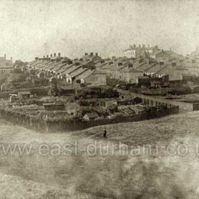 """Eight Rows South Hetton. The Eight Rows (James Street, Smith Street, Hall Street and Forster Street) are seen from the allotment gardens in the angle of the South Hetton Railway (Dobson's Branch) and """"The LNER"""".  South Hetton Lodge is prominent on the skyline; this was the home of the Colliery Agent in the days of The South Hetton Coal Company but after private ownership of the mines came to an end it became an Approved School (known to everyone in South Hetton as """"The Remand Home"""").   Caption by Sheldon Clark"""