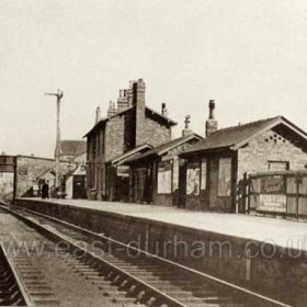 Hetton Station, date not known. This is looking towards Durham (Elvet) and shows the bridge carrying the Easington to Wardley road (later A182).   Caption by Sheldon Clark