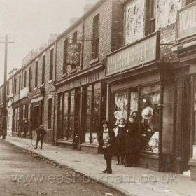 Detail from previous photograph, Market Street, Hetton Downs. From exreme right, Walter Wilson's, Richardson's, Young's Singer Sewing Machine shop.