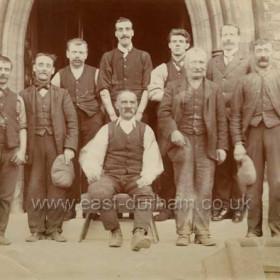 Sunderland Water Board, Fulwell Works, 6th Sept 1912.Engineman, Fireman, McCormoch (cleaner), GBG, Tilfman (boiler cleaner), H Divers (labourer), Johnson (gardener), Labourer, Alderslades (cartman) Names listed exactly as on print