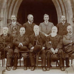 Sunderland Water Board R H Gaynor, J W Sewell, A B E Blackburn, G B Gibbs, S Richardson, J H Rennoldson, R H Gaynor, R A Bartram, W F Vint. This photograph was taken at the same time as the previous one, same place, same time, no hats.