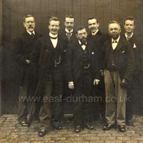 Sunderland Water Board Collectors at Fawcett St office  1900 Gordon, Crimson?, Tornbohm?, Hall, Grudie?, McNeazie?, Cairns.