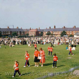 Jazz band jamboree on the Girls Grammar School field in 1963. This field had been the scene of marching bands a hundred years previously as for 50 years from the early 1860s it was the Drill Field used by the Seaham Volunteer Artillery Brigade for practice and displays on special occasions such as the annual inspection.