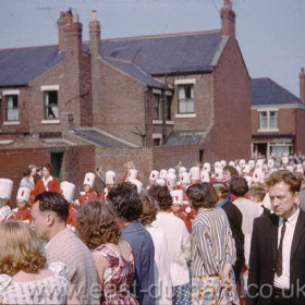 Unknown jazz band marching from Princess Road to the sports field behind Seaham Girls Grammar School in 1963