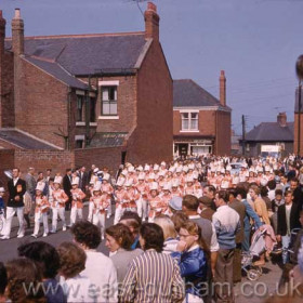 Silksworth Starliners, one of the most successful bands of the time, marching from Princess Road to the sports field behind Seaham Girls Grammar School in 1963 Info from Richard Thorpe