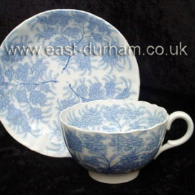 Cup and saucer made at Allason's Pottery 1838-1841. This pottery was situated at the eastern end of Ropery Walk, later known as the Duckyard. Ropery Walk School later built on the site.