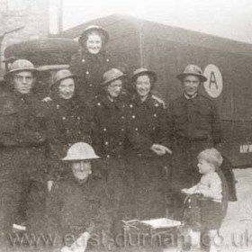 ARP (Air Raid Precautions) Ambulance in Seaham during WW2 Air Raid Casualties in Seaham 12/8/40       1 killed 15/8/40      12 killed    44 injured 16/2/41       4 killed   9 injured 9/5/41         1 killed 21/10/41     2 killed   12 injured 12/11/41              4 injured 19/9/42       1 killed   3 injured 12/12/42     1 killed   1 injured 16/5/43       34 killed   151 injured  Seaham suffered more than any other Co Durham district.. In the daylight raid on 15/8/40 a Messerschmitt110 was shot down, bombs dropped on Dawdon, 12 deaths, 119 people homeless, 5 houses demolished, Dawdon Church, Vicarage and 230 houses damaged.  In the night raid of 16/5/43, a land mine exploded on the corner of ViceroySt, Sophia St and Adolphus St West- 34 deaths- 154 casualties - Presbyterian Church and 113 houses totally demolished- 1200 houses damaged - 102 families homeless - 1200 other persons billeted out, Wagonworks, St Johns Church, Viceroy St Infants School and National Schools all damaged. 3266 Seaham people served in Hm Forces and of these 181 lost their lives. Further information from Ron Walton..... This is the Air Raid Ambulance, the lady at back centre is my mother Margarite Miller, she later married my father Ron at St Mary Magdalen's in 1941.