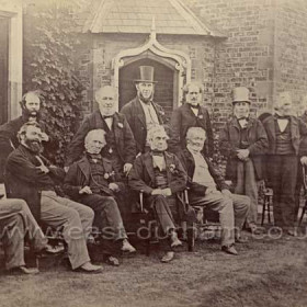 "Humbledon 12th May 1865 Directors and Engineers at commission of Pumping Station outside of cottages. Handwritten on back of print ""Humbledon, commissioned, 1846 approx"" Humbledon Pumping Station was commissioned in 1847-9"