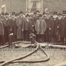 T S Forster's patent apparatus for supplying water to fire engines. I have no date or any other information for this photograph, probably 1880-1900, can you help?