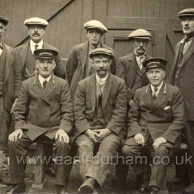 Water Board Staff, Jarrow 1923. Back Row; ?, ?, Fletcher, Mall Bonner, Gilbertson. Front Row; Phillips, Dixon, Hood. I know this photograph has nothing to do with Humbledon but I had nowhere else to put it, so.....