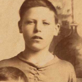 J Bell, player for New Seaham Boys 1908-09. Photograph 1909