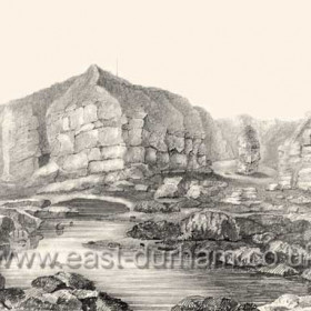 Natural cove which was the proposed site for North Dock.Pencil drawing by Robert Macreth for Lord Londonderry in 1824.