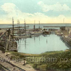 A great shot of the busy, gated North Dock showing colliers, wagons and coal drops at both north and south walls around 1905.