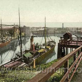 """North Dock 1902. Londonderry ship in foreground (""""dangling carrots"""" on funnel)"""