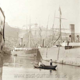 """Pilot cobble in north dock c 1903, Londonderry steamer """"Vane Tempest"""" in background. Londonderry Offices in North Terrace above."""
