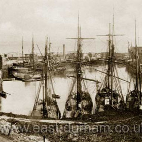 Sailing ships in the North Dock in 1899.