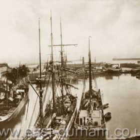 Sail and steam in North Dock c 1908