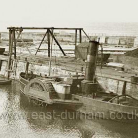 """Tug Seaham on east wall of the N Dock before 1939.The tug """"Seaham"""" served at Seaham from 1909 to 1962."""