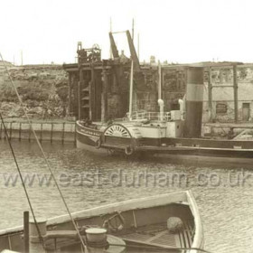 The tug Eppleton Hall at north side of North Dock The last paddle tug built on the Tyne in 1914 came to Seaham from the Wear in 1964, consigned  to Tyne breakers yard in 1967. Rebuilt in 1969 she sailed 11,000 miles across the Atlantic, through the Panama Canal and up the west coast of America to the San Francisco Maritime Museum