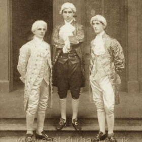 L to R Antonio, Mr T Bambro (Bamborough?) Francesco, Mr G Deacon Giorgio, Mr G Wiggins. The Gondoliers, Seaham Harbour Amateur Operatic Society 1913. Performed in the Drill Hall.