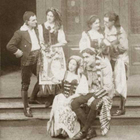 Back Row L to R Fiametta - Mr ? E Kelly,  Vittoria - Miss J Bellerby, Giulia - Miss A Jamison, Antonio - Mr T C Bambro. Front L to R Francesco - Mr G Deacon, Giorgio - Mr G Wiggins  The Gondoliers, Seaham Harbour Amateur Operatic Society 1913. Performed in the Drill Hall.