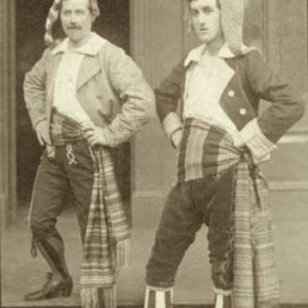 L to R Marco - Mr J M Nicholson Giuseppe - Mr J R Wiggins The Gondoliers, Seaham Harbour Amateur Operatic Society 1913. Performed in the Drill Hall.