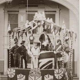 """John Bull and his Empire""  built by the sergeants Mess of R.F.A. pictured in front of the Drill Hall. Coronation celebrations 1911"