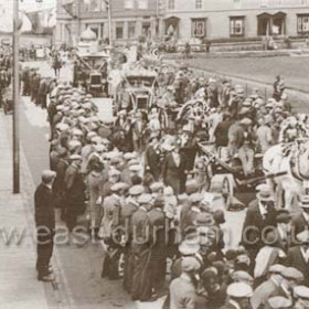 Parade in North Terrace occasion not known. Street lighting electric. Probably  late 1920s. Electric lights in Seaham 1927.