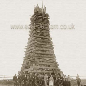 Bonfire to mark the coronation of King George V and Queen Mary on June 22nd 1911 on the clifftop north of the old battery. Lit at 10pm after a day of processions, music, sports, an evening pageant and dozens of events.