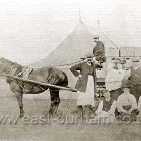 Seaham Flower Show at Seaham Hall grounds, Lodge at left. First show 1858. Photograph date not known.