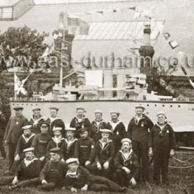 HMS King George made by Coastguards and R.N.R. Photograph taken in Drill Hall yard. Coronation celebrations 1911