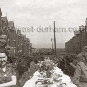 Garron Street celebrations to mark VE Day in May 1945. Tom Slee and  Beatrice Henderson at left and Ena Slee (Tom's sister) to right.