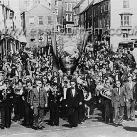 Seaham Lodge Banner entering Durham City at Durham Miners Gala (Durham Big Meeting) in the 1950s.