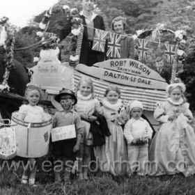 Coronation celebrations in Dalton le Dale, 1953.  Marian Gleghorn front row 2nd left, Barrie Gleghorn 2nd from right.  Photograph from Marian Gleghorn