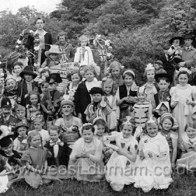 Coronation celebrations in Dalton le Dale, 1953.  Front row extreme left Marian and Barrie Gleghorn Photograph from Marian Gleghorn Marian Gleghorn front row extreme left Marian and Barrie Gleghorn
