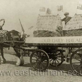 E C Snowdon of Mill House Farm, float for parade in 1923, possibly Seaham Flower Show.