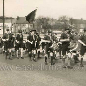 Scouts band marching to Christ Church Seaham (Mid 1930's)