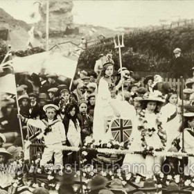 Celebrations to mark the coronation of King George V and Queen Mary in 1911. Featherbed Rock in background.