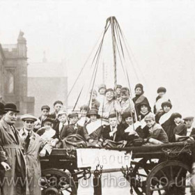 Labour party float, probably 1930s election, at the junction of Tempest Rd and North Terrace, the old infirmary in background.