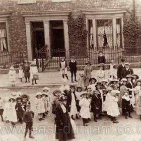 Children from the National School in Church Street march up Marlborough Street to Sunday School Treat in the Jubilee Grounds Dalton le Dale in 1910