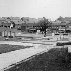 """Peterlee c1950. Kirkland Hill leading down to what my family used to call """"the New Shops"""" (because they were built after the Yoden Road shops, which we then called """"the Old Shops"""") . I remember the pavement slabs were unusual because they had rubber insets, presumably to stop people slipping. Info from Keith Davidson Photograph from Stafford Linsley"""
