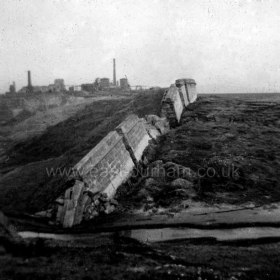 Peterlee c1950, showing result of subsidence due to underground mine workings. Photograph from Stafford Linsley