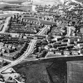 Peterlee c1950. Peterlee from the East with little Eden in the upper half of the picture. Info Keith Davidson Photograph from Stafford Linsley