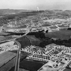Peterlee c1950. Peterlee from the west. The town centre is just above the centre of the picture with Little Eden up from it and a little to the left. Horden and the sea lie beyond. Info Keith Davidson Photograph from Stafford Linsley
