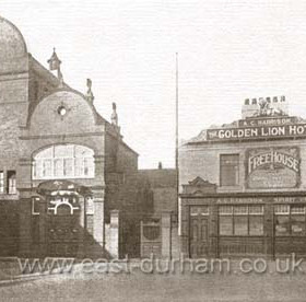 The new Theatre Royal and the Golden Lion Hotel in the early 1900's